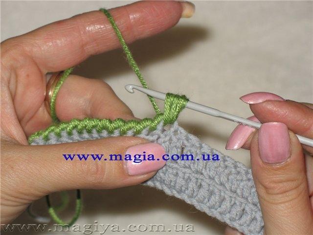 Пошаговое вязание рачьим шагом
